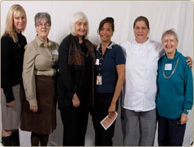 Hudson's Bay Branch awards AAUW-Judith Metcalf scholarships to women who are returning to school after an absence. Three of the six 2010-2011 student recipients were on hand to express their gratitude.(Left to right) Savenia Falquist, Sue Heise (AAUW), Carol Winters (AAUW), Felisa Neal, Devi Blackard, Beverly Doty (AAUW).